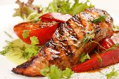 stock photo of salmon steak  - salmon steak with vegetables - JPG