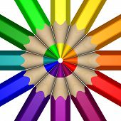 picture of color wheel  - A Color Wheel depicted using a close up of 3D pencils - JPG