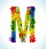 Color paint splashes. Gradient vector font. Letter M