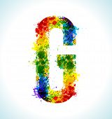 Color paint splashes. Gradient vector font. Letter G