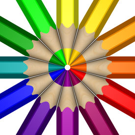 pic of color wheel  - A Color Wheel depicted using a close up of 3D pencils - JPG