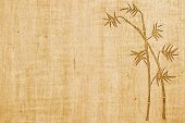 stock photo of bamboo  - Bamboo ink drawing on bamboo paper background with copy space - JPG