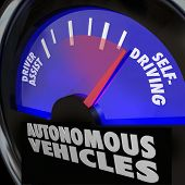 The words Autonomous Vehicles on an automobile gauge with the needle rising past Driver Assist to re