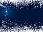 foto of xmas star  - Abstract winter blue background - JPG