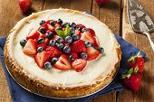 stock photo of cheesecake  - Homemade Strawberry and Blueberry Cheesecake for dessert - JPG