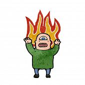 image of ogre  - retro cartoon flaming ogre - JPG