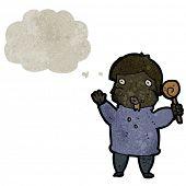 picture of greedy  - retro cartoon greedy boy with candy cane - JPG