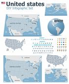 stock photo of hemisphere  - United States maps with markers - JPG