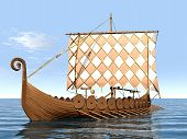 image of viking ship  - Computer generated 3D illustration with a Viking Ship - JPG