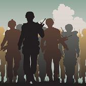 picture of battlefield  - Editable vector silhouettes of armed soldiers walking together  - JPG