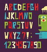 image of blue animal  - Funny alphabet letters with numbers in retro style - JPG