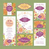 foto of marriage decoration  - Set of wedding cards - JPG