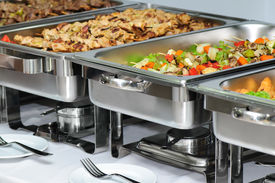 picture of chafing  - served banquet table with chafing dish heaters - JPG