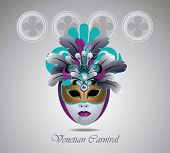 foto of carnivale  - Venetian carnival mask with colorful feathers - JPG
