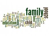 Concept or conceptual education abstract word cloud, white background, metaphor to child, family, sc