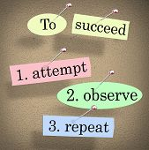 Succeed Attempt Observe Repeat Quote Saying Bulletin Board