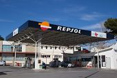 VALENCIA, SPAIN - JANUARY 21, 2014: A Repsol gas station in Valencia. Repsol is a Spanish multinatio
