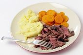 "picture of flank steak  - ""London broil"" marinaded flank of beef steak grilled and sliced thinly, then served with mashed potato, boiled sliced carrots and horseradish sauce - JPG"