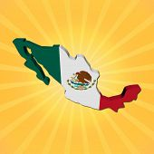 Mexico map flag on sunburst illustration
