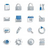 stock photo of semi-circle  - Semi flat web icons set of 15 vector design elements isolated on white background - JPG