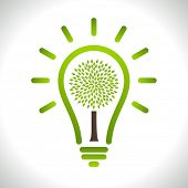 Modern infographic template. Light bulb with Green tree icon inside. Business Eco Concept Idea