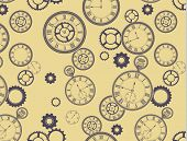 Vintage Clocks Pattern - Seamless pattern (included in swatches palette in EPS file), with different