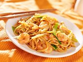 stock photo of lo mein  - chinese shrimp lo mein with chopsticks - JPG