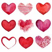 image of amour  - Set of watercolor hearts - JPG
