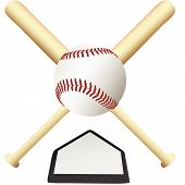 stock photo of baseball bat  - A Baseball Emblem crossed bats over home plate ready for college or major leagues spring training to the world series - JPG