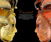 stock photo of venetian carnival  - Vintage venetian carnival masks on black background - JPG