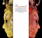 stock photo of venetian carnival  - Vintage venetian carnival masks with blank banner - JPG