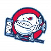 picture of piranha  - Illustration emblem aggressive piranha holds hockey stick - JPG