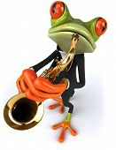 stock photo of saxophones  - Frog and saxophone - JPG