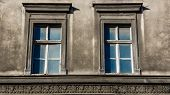 picture of tenement  - Dilapidated windows on the facade of an old tenement in Katowice - JPG
