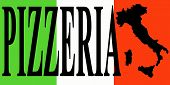 Banner With Word Pizzeria On The Italian Flag