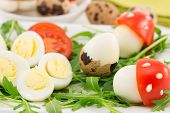 stock photo of quail  - appetizer of quail eggs on a bed of arugula with cherry tomatoes