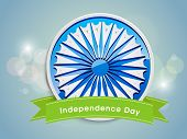 pic of ashoka  - Beautiful sticky with Ashoka wheel and green ribbon on shiny blue background for Independence Day celebrations - JPG
