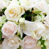 stock photo of marquee  - a wedding marquee with bouquets of roses - JPG
