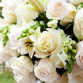 image of marquee  - a wedding marquee with bouquets of roses - JPG