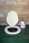 image of outhouse  - Simple village rural plastic toilet bowl in a brick shed or outhouse