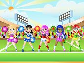 picture of cheerleader  - Cheerleader girls dress up on the grasses field - JPG