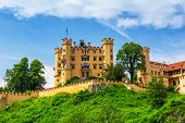 stock photo of bavarian alps  - Hohenschwangau Castle in the Bavarian Alps - JPG