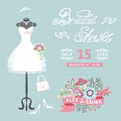 foto of bridal veil  - Bridal shower card with floral elements - JPG