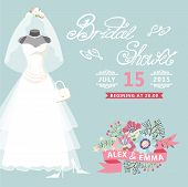 stock photo of bridal veil  - Bridal shower card with floral elements - JPG