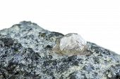 stock photo of kimberlite  - Magnificent large rough white diamond in kimberlite - JPG