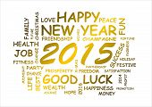 stock photo of text cloud  - illustration and word cloud with best wishes for new year 2015 - JPG