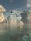 foto of cliffs  - Fantasy illustration of a group of dragons flying from the cliffs and swimming in the ocean between sea stacks - JPG