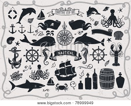 Maritime Clip Art - Set of nautical symbols and configuration components, including privateer banner