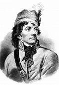 stock photo of revolutionary war  - Engraving of Polish hero Thaddeus Kosciuszko dring American Revolutionary war - JPG
