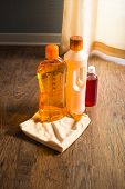 foto of detergent  - Detergent products for hardwood floor care and manteinance on parquet - JPG